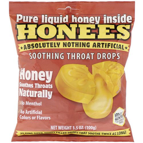 Honees, Soothing Throat Drops, Honey, 20 King Size Drops Review