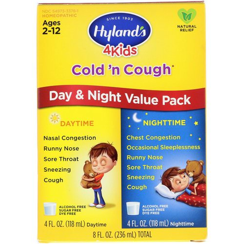 Hyland's, 4 Kids Cold 'n Cough Day & Night Value Pack, Age 2-12, 4 fl oz (118 ml) Each Review