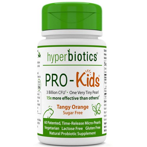 Hyperbiotics, PRO-Kids, Sugar Free, Tangy Orange, 60 Micro-Pearls Review