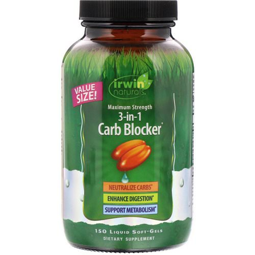 Irwin Naturals, 3-in-1 Carb Blocker, Maximum Strength, 150 Liquid Soft-Gels Review