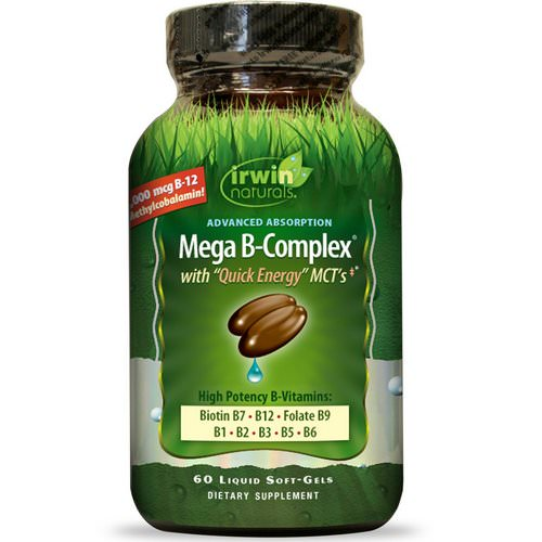 Irwin Naturals, Mega B Complex, with Quick Energy MCT's, 60 Liquid Soft-Gels Review