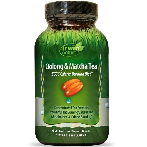 Irwin Naturals, Oolong & Matcha Tea, EGCG Calorie-Burning Diet, 63 Liquid Soft-Gels Review