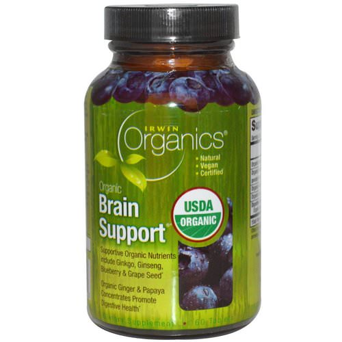 Irwin Naturals, Organics, Brain Support, 60 Tablets Review