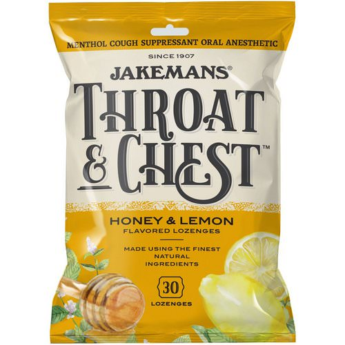 Jakemans, Throat & Chest, Honey and Lemon Flavored, 30 Lozenges Review