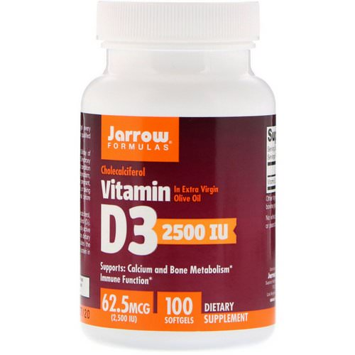 Jarrow Formulas, Vitamin D3, Cholecalciferol, 2,500 IU, 100 Softgels Review
