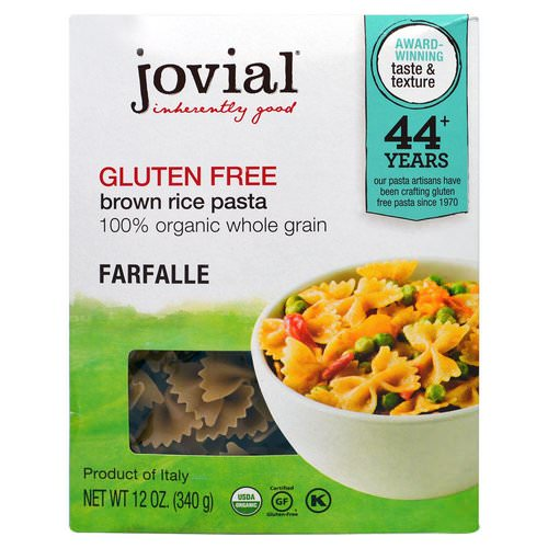 Jovial, Organic Brown Rice Pasta, Farfalle, 12 oz (340 g) Review