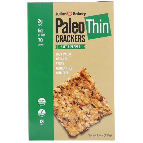 Julian Bakery, Paleo Thin Crackers, Salt & Pepper, 8.4 oz (238 g) Review
