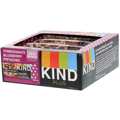 KIND Bars, Kind Plus, Pomegranate Blueberry Pistachio + Antioxidants, 12 Bars, 1.4 oz (40 g) Each Review