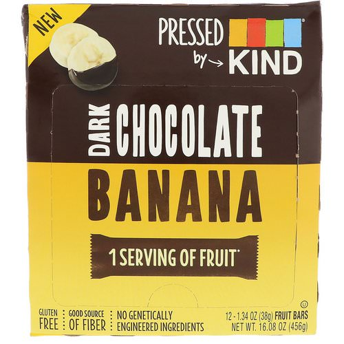KIND Bars, Pressed by KIND, Dark Chocolate Banana, 12 Fruit Bars, 1.35 oz (38 g) Each Review