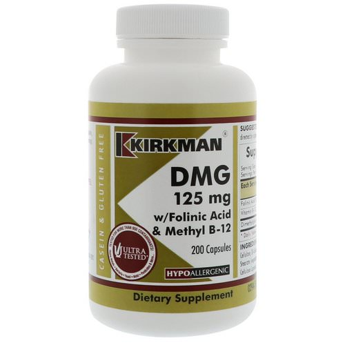 Kirkman Labs, DMG, With Folinic Acid & Methyl B-12, 125 mg, 200 Capsules Review