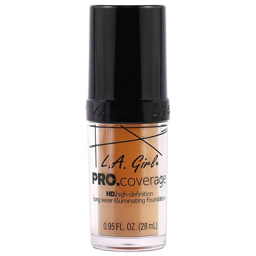 L.A. Girl, Pro Coverage HD Foundation, Soft Honey, 0.95 fl oz (28 ml) Review