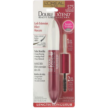睫毛膏, 眼睛: L'Oreal, Double Extend Beauty Tubes Mascara, 575 Blackest Black, 0.17 fl oz (5.2 ml) / 0.16 fl oz (5 ml)