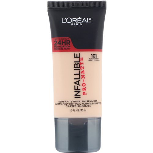 L'Oreal, Infallible Pro-Matte Foundation, 101 Classic Ivory, 1 fl oz (30 ml) Review