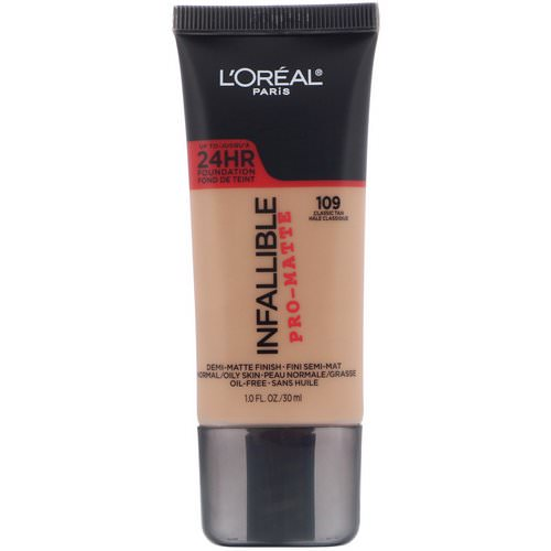 L'Oreal, Infallible Pro-Matte Foundation, 109 Classic Tan, 1 fl oz (30 ml) Review