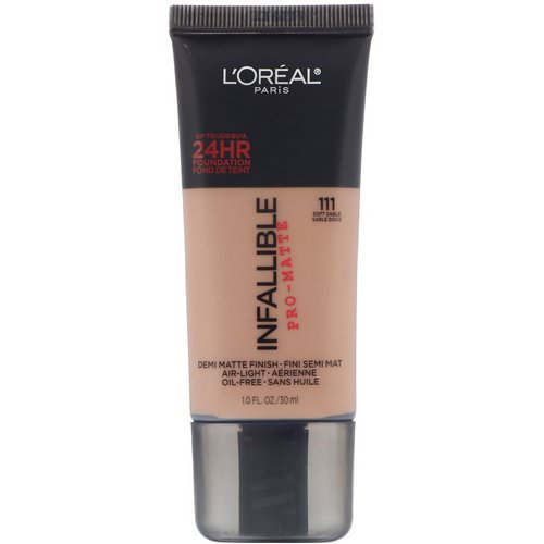 L'Oreal, Infallible Pro-Matte Foundation, 111 Soft Sable, 1 fl oz (30 ml) Review
