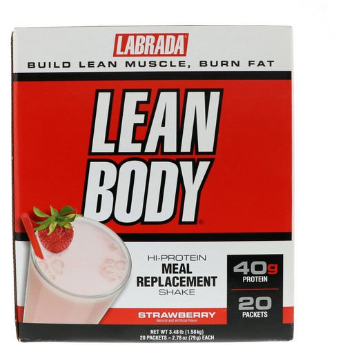 Labrada Nutrition, Lean Body, Hi-Protein Meal Replacement Shake, Strawberry, 20 Packets, 2.78 oz (79 g) Each Review