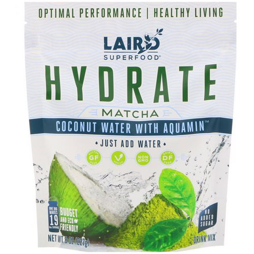 Laird Superfood, Hydrate, Matcha, Coconut Water with Aquamin, 8 oz (227 g) Review