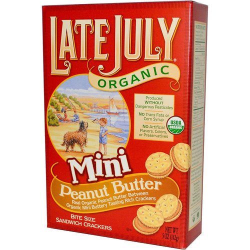 Late July, Organic Mini Bite Size Sandwich Crackers, Peanut Butter, 5 oz (142 g) Review