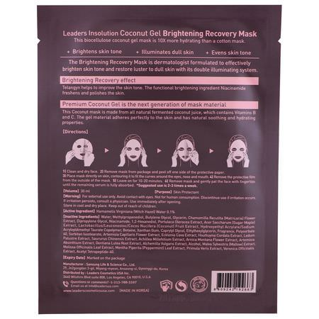 提亮面膜, K美容面膜: Leaders, Coconut Gel Brightening Recovery Mask, 1 Mask, 30 ml