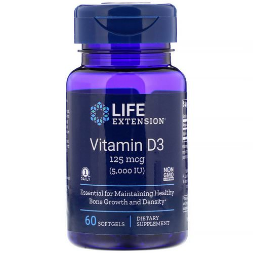 Life Extension, Vitamin D3, 125 mcg (5,000 IU), 60 Softgels Review