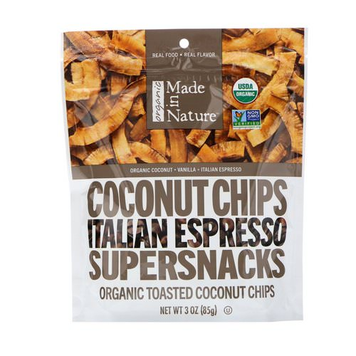 Made in Nature, Organic Coconut Chips, Italian Espresso Supersnacks, 3.0 oz (85 g) Review