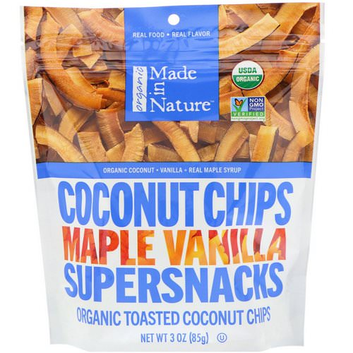 Made in Nature, Organic Coconut Chips, Maple Vanilla Supersnacks, 3 oz (85 g) Review