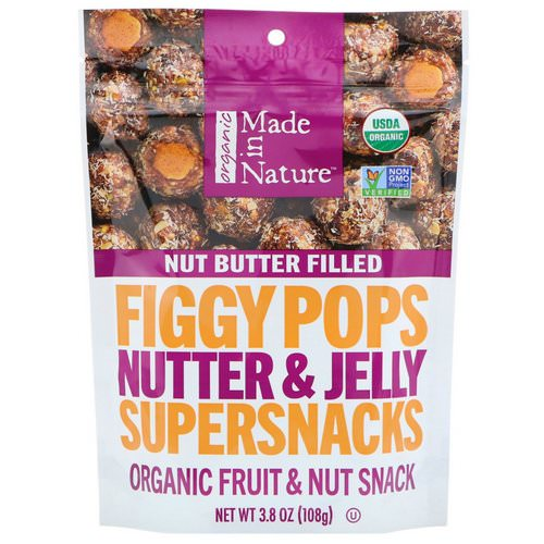 Made in Nature, Organic Figgy Pops, Nutter & Jelly Supersnacks, 3.8 oz (108 g) Review