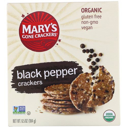 Mary's Gone Crackers, Black Pepper Crackers, 6.5 oz (184 g) Review