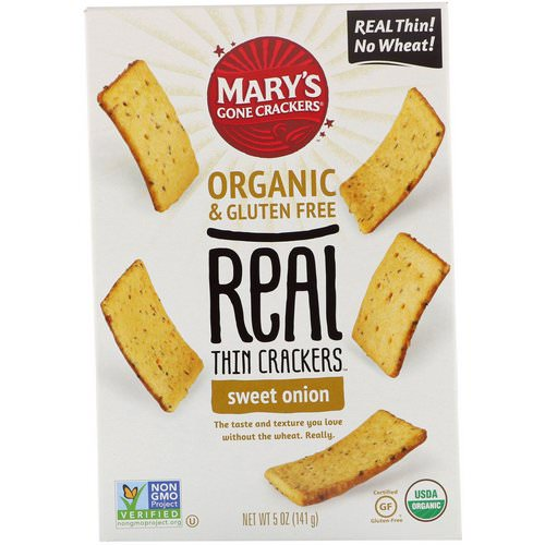 Mary's Gone Crackers, Real Thin Crackers, Sweet Onion, 5 oz (141 g) Review