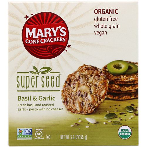 Mary's Gone Crackers, Super Seed Crackers, Basil & Garlic, 5.5 oz (155 g) Review