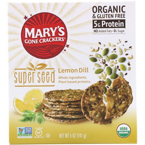 Mary's Gone Crackers, Super Seed Crackers, Lemon Dill, 5 oz (141 g) Review