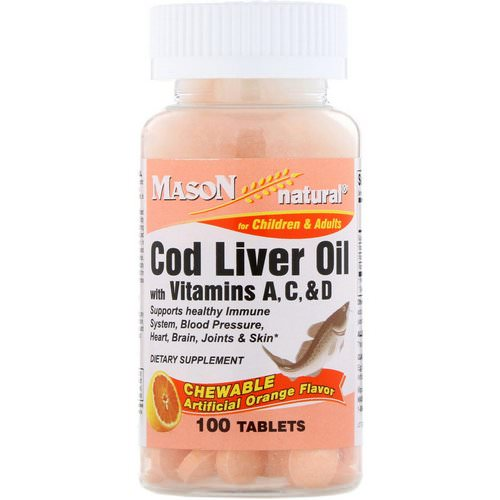Mason Natural, Chewable Cod Liver Oil, with Vitamins A, C, & D, Orange Flavor, 100 Tablets Review