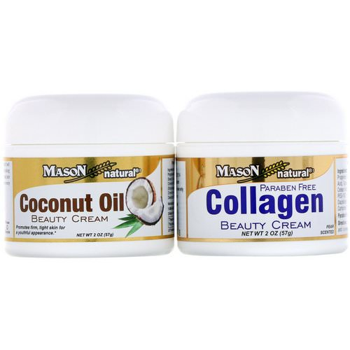 Mason Natural, Coconut Oil Beauty Cream + Collagen Beauty Cream, 2 Jars, 2 oz (57 g) Each Review