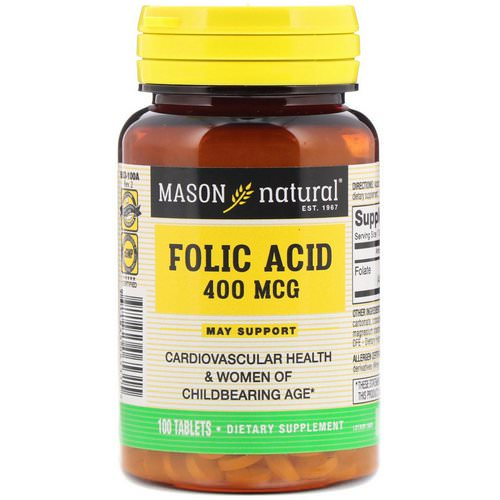 Mason Natural, Folic Acid, 400 mcg, 100 Tablets Review