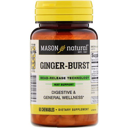 Mason Natural, Ginger-Burst, Bead- Release Technology, 60 Chewables Review