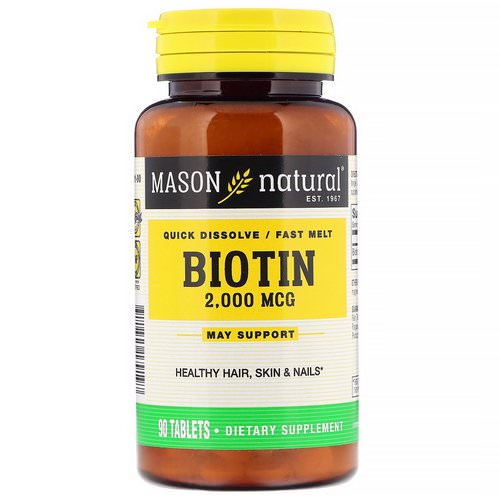 Mason Natural, Quick Dissolve, Fast Melt Biotin, 2,000 mcg, 90 Tablets Review