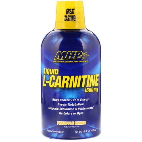MHP, Liquid L-Carnitine, Pineapple Mango, 1,500 mg, 16 fl oz (473 ml) Review