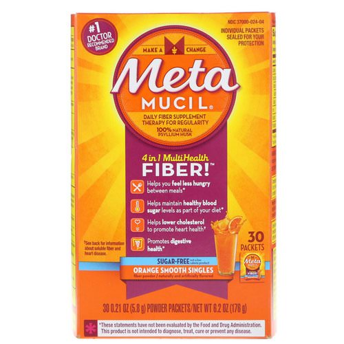Metamucil, 4 in 1 MultiHealth Fiber Powder, Sugar Free, Orange Smooth Singles, 30 Packets, 0.21 oz (5.8 g) Each Review