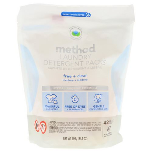 Method, Laundry Detergent Packs, Free + Clear, 42 Loads, 24.7 oz (700 g) Review