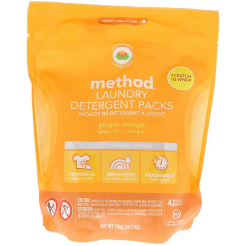 Method, Laundry Detergent Packs, Ginger Mango, 42 Loads, 24.7 oz (700 g) Review