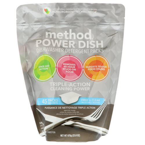 Method, Power Dish, Dishwasher Detergent Packs, Free + Clear, 45 Packs, 23.8 oz (675 g) Review