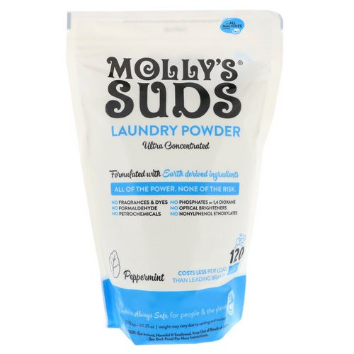 Molly's Suds, Laundry Powder, Ultra Concentrated, Peppermint, 120 Loads, 80.25 oz (2.275 kg) Review