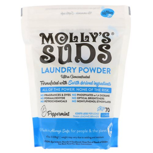 Molly's Suds, Laundry Powder, Ultra Concentrated, Peppermint, 70 Loads, 47 oz (1.33 kg) Review