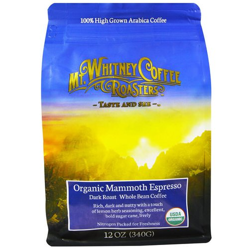 Mt. Whitney Coffee Roasters, Organic Mammoth Espresso, Dark Roast, Whole Bean Coffee, 12 oz (340 g) Review