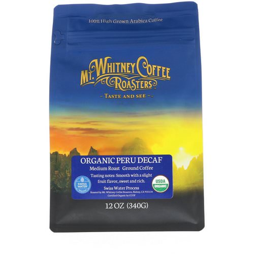 Mt. Whitney Coffee Roasters, Organic Peru Decaf, Medium Roast, Ground Coffee, 12 oz (340 g) Review