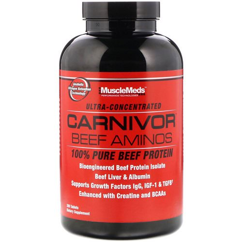 MuscleMeds, Carnivor Beef Aminos, 100% Pure Beef Protein, 300 Tablets Review