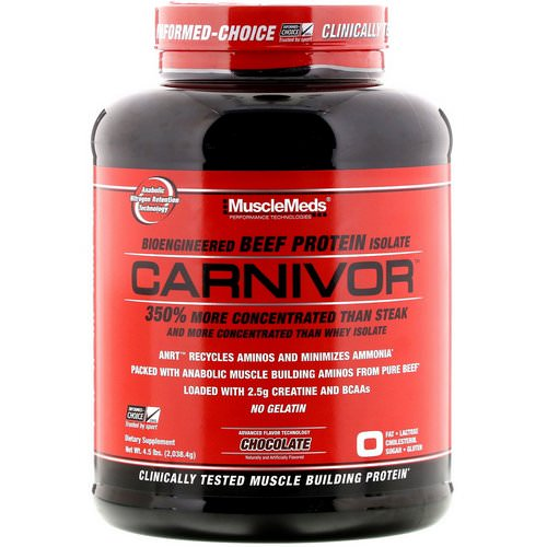 MuscleMeds, Carnivor, Bioengineered Beef Protein Isolate, Chocolate, 4.5 lbs (2,038.4 g) Review