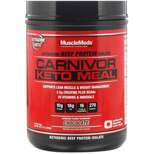 MuscleMeds, Carnivor, Keto Meal, Ketogenic Beef Protein Isolate, Chocolate, 23.57 oz (668 g) Review
