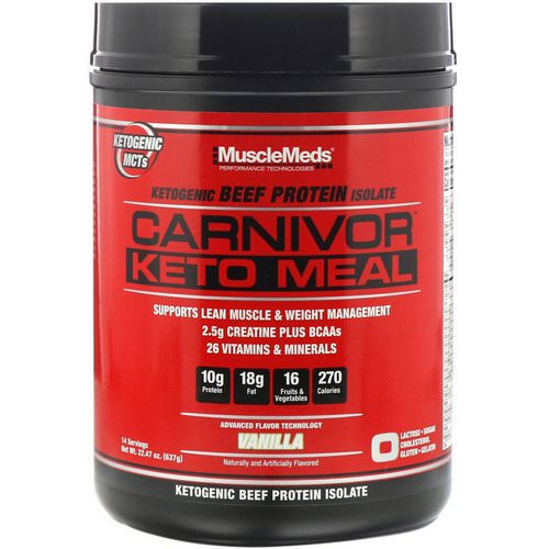 MuscleMeds, Carnivor, Keto Meal, Ketogenic Beef Protein Isolate, Vanilla, 22.47 oz (637 g) Review