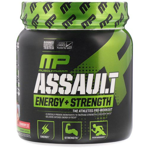 MusclePharm, Assault Energy + Strength, Pre-Workout, Strawberry Ice, 12.17 oz (345 g) Review